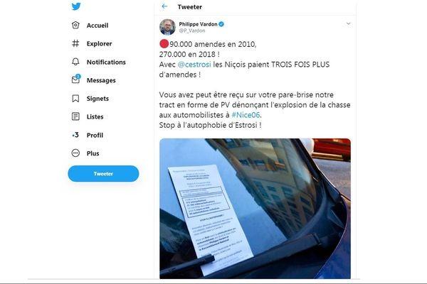 Tweet P. VArdon faux PV à Nice