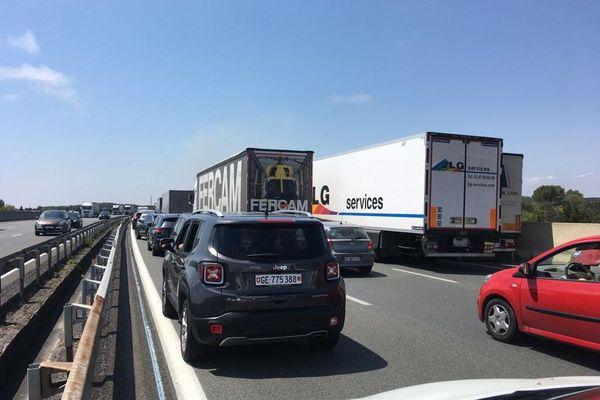 L'autoroute A9 est actuellement coupée en direction de l'Espagne, 1km avant la sortie 34 Agde - 21.07.20