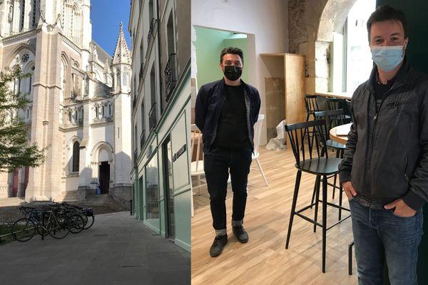 """Maxime Mallet, le directeur et Matthieu Pollet, le propriétaire du """"Kraft"""", place Félix Fournier à Nantes."""