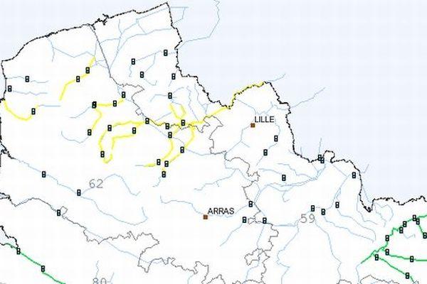 Dans son bulletin de 10h00 ce 27 décembre, Vigicrues maintient la vigilance jaune sur la plupart des cours d'eau du Nord Pas-de-Calais.
