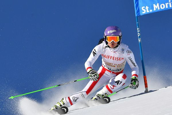 L'Autrichienne Anna Veith lors d'un slalom géant à Saint-Moritz.