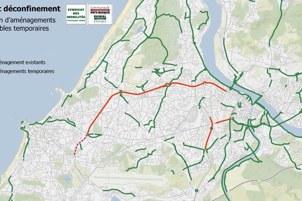 Plan des nouvelles pistes cyclables temporaires du BAB