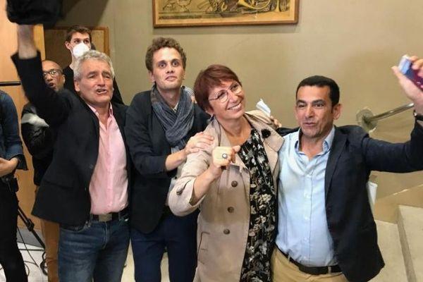 Christophe Lime (PCF), Anthony Poulin (EELV), Anne Vignot (EELV) et Abdel Ghezali (PS) à l'annonce des résultats définitifs.