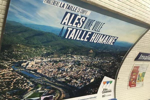 Paris - campagne publicitaire de la ville d'Alès dans le métro - septembre 2020.