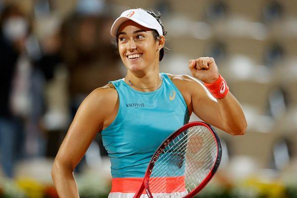 Caroline Garcia après sa victoire sur la Bélarusse Aliaksandra Sasnovich le 29 septembre 2020 à Roland Garros