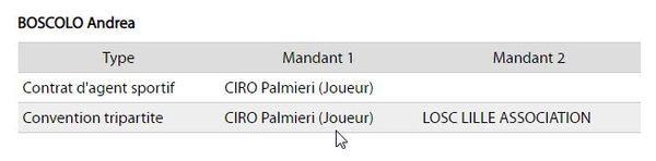 Les contrats déclarés à la FFF par l'agent italien Andrea Boscolo au sujet de Ciro Palmieri.