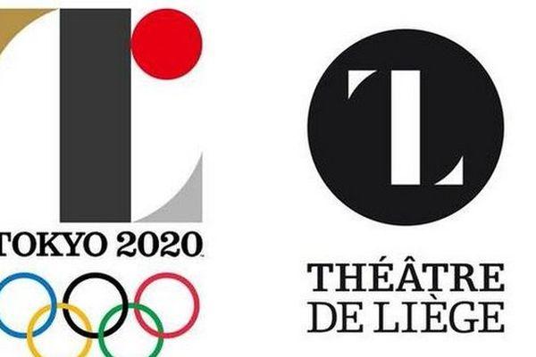 A gauche, le logo de Tokyo 2020. A droite, celui du théâtre de Liège.
