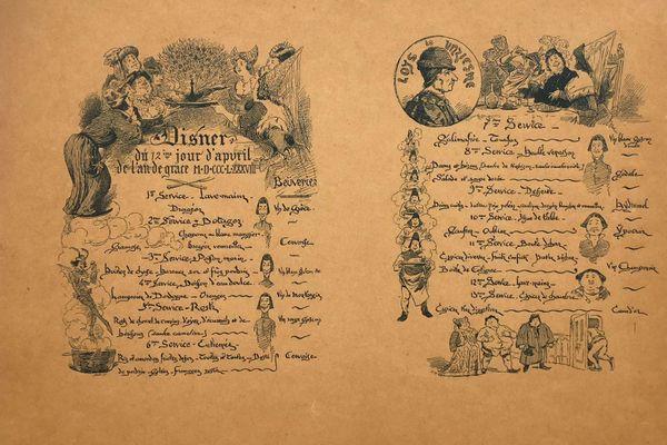 Le menu de la soirée Louis XI de 1888 (capture issue de notre reportage)