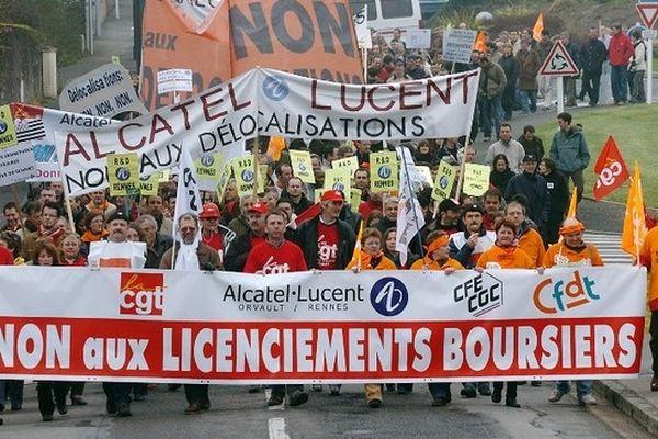 Déjà en mars 2007, au moment du rapprochement avec Lucent, les salariés de Alcatel à Orvault manifestaient massivement contre les réductions d'effectifs