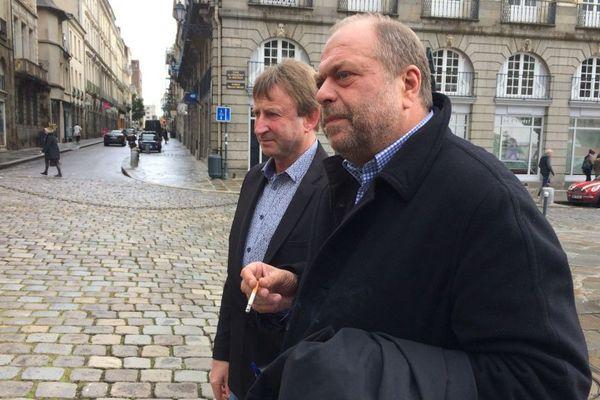 """"""" On va bien, on est innocent""""  lance Éric Dupond-Moretti, l'avocat de Jo Baron, à l'arrivée à la cour d'appel de Rennes"""