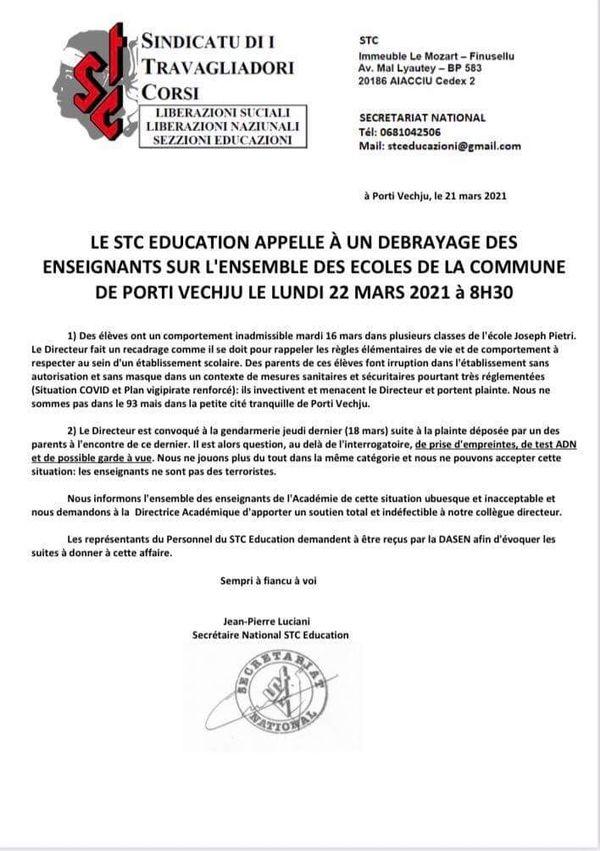 Communiqué de presse du STC Education