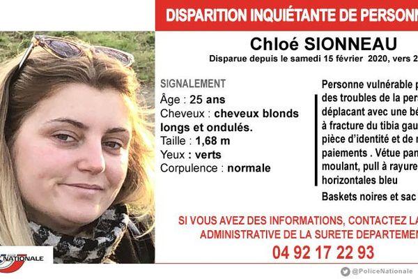 La jeune femme a disparu depuis le 15 février dernier au carnaval de Nice.