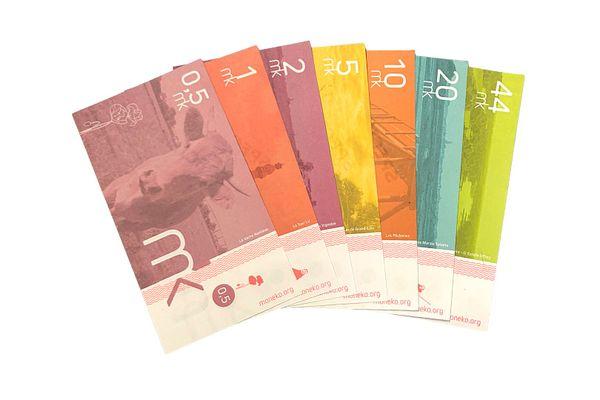 Les billets de Moneko, monnaie locale à Nantes