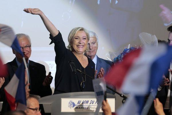 Présidentielle 2017 - La candidate du FN Marine Le Pen lors d'un meeting à Ajaccio, le 8 avril 2017