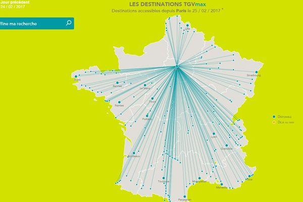 Capture d'écran du site SNCF TGV max