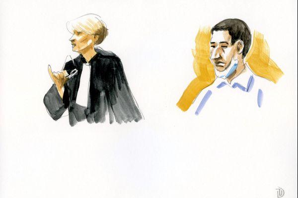 Guerric Jehanno et l'une de ses avocats.
