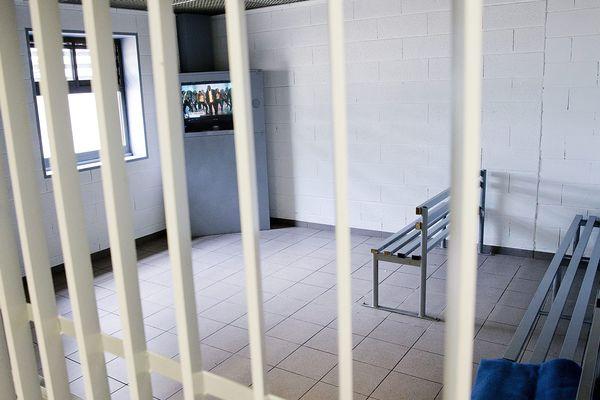Une partie du centre de rétention de Coquelles, près de Calais.