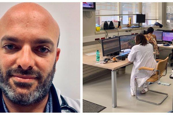 Le Chef du service des Urgences de l'Hôpital Mémorial de Saint-Lô , Thomas Delomas et l'équipe de régulation.
