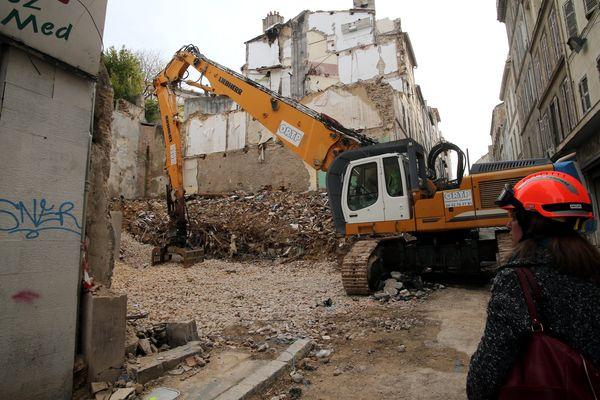 Travaux après l'effondrement de deux immeubles rue d'Aubagne.
