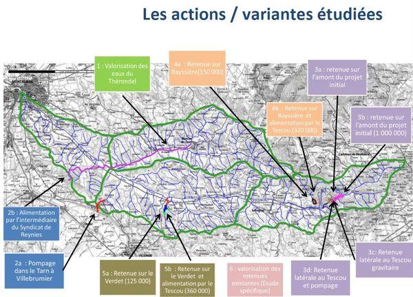 Cette carte situe les possibles ressources en eau identifiées pour répondre aux besoins de la vallée du Tescou.