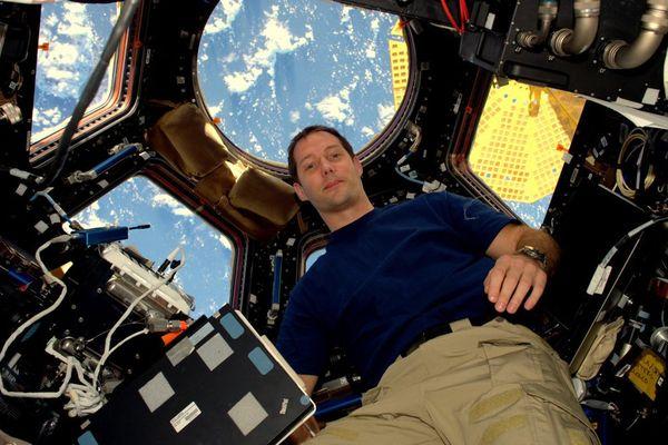 Thomas Pesquet à bord de l'ISS lors de son premier voyage fin 2016.