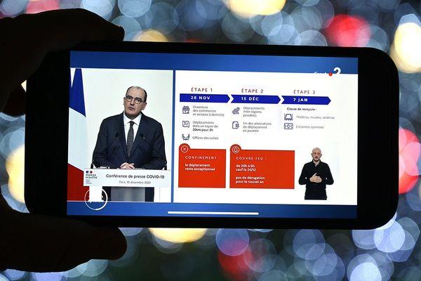 Le Premier ministre, Jean Castex, le 10 décembre 2020 à l'occasion de la présentation des nouvelles mesures de couvre-feu mises en place pour la fin d'année.