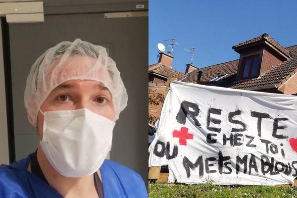 """Thibaut P. dans le service des Urgences du CHU de Lille et devant chez lui avec une banderole """"Reste chez toi"""""""