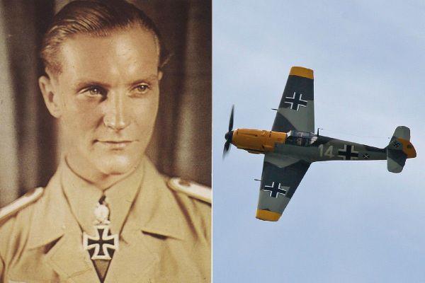 L'as allemand Hans-Joachim Marseille et le Messerschmitt Bf109 3579 qu'il pilotait lors de ses premières missions depuis Calais-Marck en août et septembre 1940.