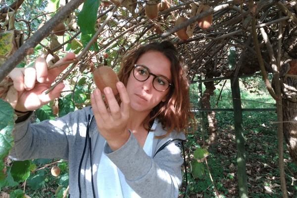Pauline Massicam a appris à cultiver ses pommes et kiwis grâce aux conseils de sa mère.