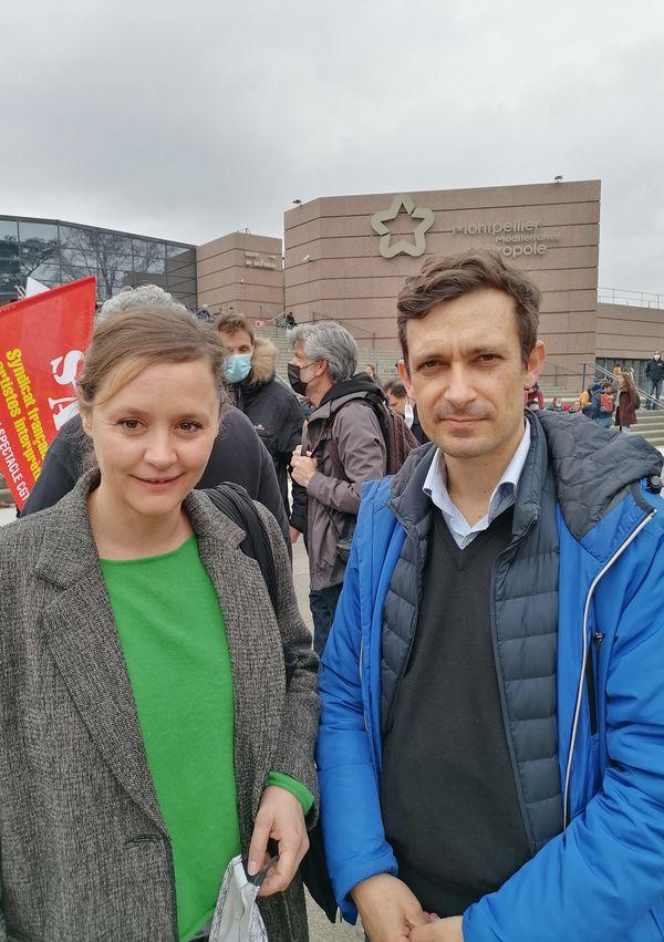 Nathalie Garraud, directrice du Théâtre des 13 vents à Montpellier, et Nicolas Dubourg, président du Syndeac.