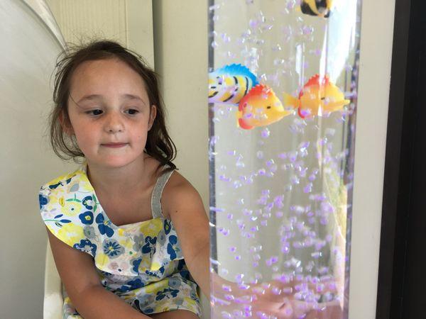Louna, 5 ans, est venue rêver avec les poissons, dans ce nouveau centre de loisirs ouvert spécialement pour elle à Villersemeuse