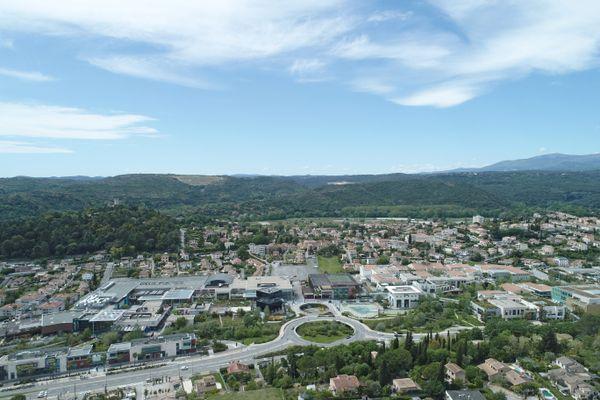 Le centre commercial Polygone Riviera à Cagnes-sur-Mer vu du ciel ( Archives)