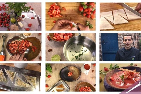 Les grandes étapes de la soupe de fraises verveine citron et son mille-feuilles à la cassonade