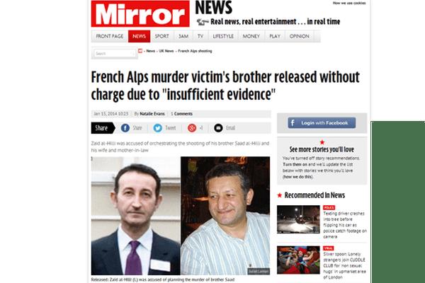 Affaire de Chevaline : une du Mirror du 14 janvier 2014