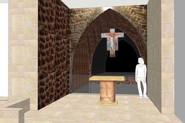 Une simulation 3D de l'œuvre de Raymond Dumoux, dans la chapelle de la 7ème station de la Via Dolorosa à Jérusalem