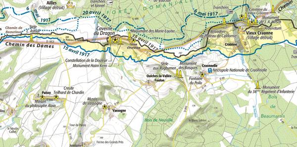 Carte de l'IGPN sur le Chemin des Dames
