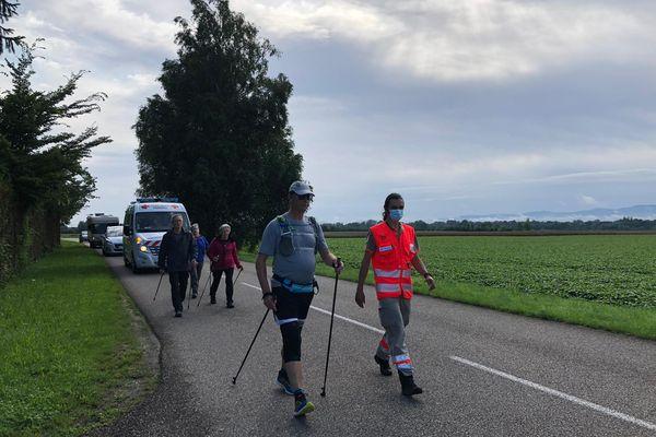 Le périple d'Éric Pinas a débuté ce mercredi 7 juillet à Offendorf dans le Bas-Rhin.