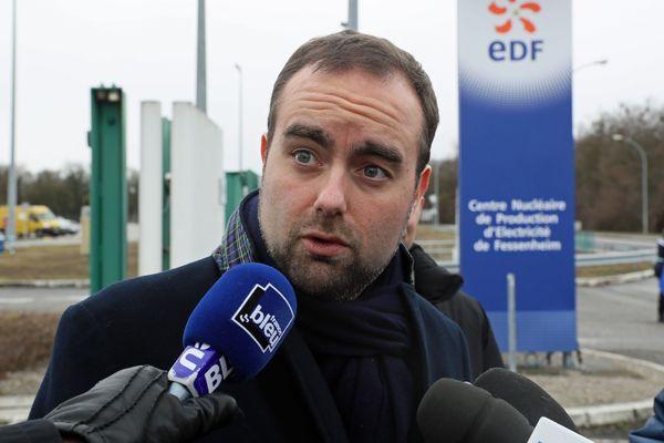 Sébastien Lecornu lors de sa visite à Fessenheim, le 20 janvier 2018