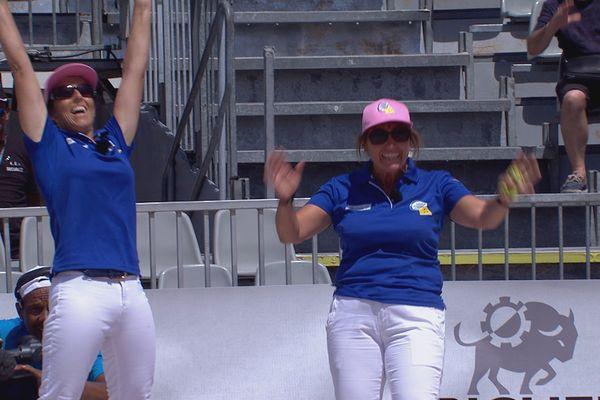 La joie de l'équipe Baudens-Ponsi après sa victoire en finale 13 à 12 face à la triplette Vierjon