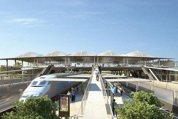 """La maquette du projet de gare """"Montpellier Sud de France"""" retenu par la SNCF."""