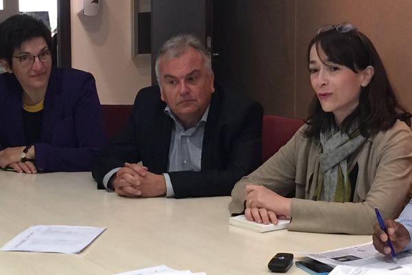 De droite à gauche : Delphine Ernotte-Cunci aux côtés de Didier Cagny, délégué régional, et Marie-Thérèse Montalto, directrice de France 3 Nord Est.