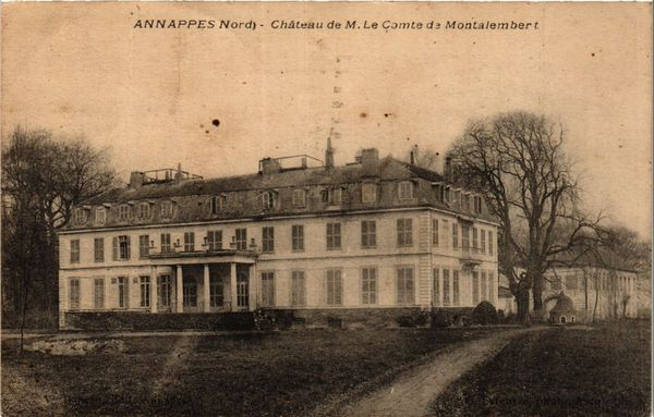 Le château de Brigode à Annappes (aujourd'hui Villeneuve-d'Ascq). Détruit en 1969, il ne reste aujourd'hui que ses communs qui abritent le club-house du Golf de Brigode.
