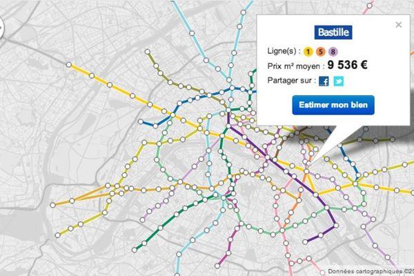 Le site immobilier MeilleursAgents.com a lancé la première carte des prix de l'immobilier des stations du métro parisien.