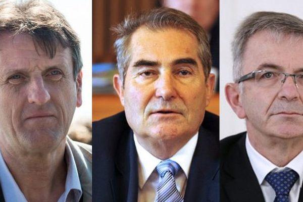 de gauche à droite : Jean-François Macaire, président de la région Poitou-Charentes, Jean-Paul Denanot président de la région Limousin et François Bonneau président de la région Centre