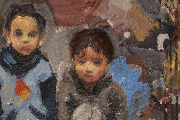 Détails - Paysage avec 2 enfants - Peinture sur carton de Mako Moya 2020
