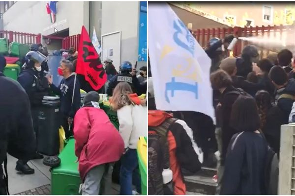 Les policiers sont intervenus pour dégager l'entrée du lycée Stendhal, à Grenoble.