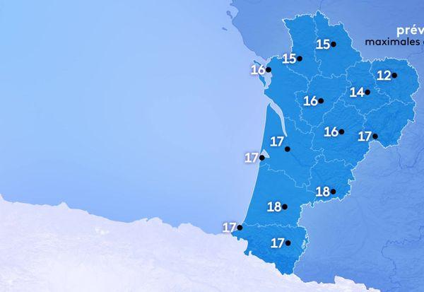 Les températures maximales seront comprises entre 12 degrés à Guéret et 18 degrés le maximum à Mont de Marsan et Agen.