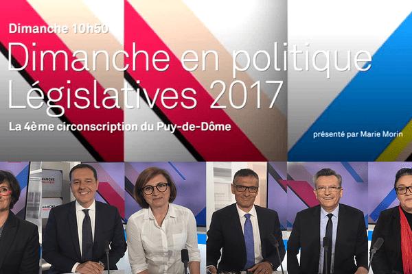 Les invités de Dimanche en Politique avec de gauche à droite : Sylvie Maisonnet (PS), Hervé Prononce (UDI), Sylvia Powarunas (FN), Bertrand Barraud (LR), Michel Fanget (LREM) et Catherine Mollet (FI)