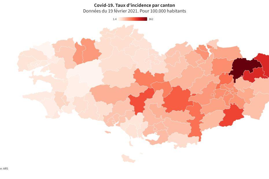 Géolocalisation de la Covid-19 en fonction du taux d'incidence par canton en Bretagne - France 3 Régions