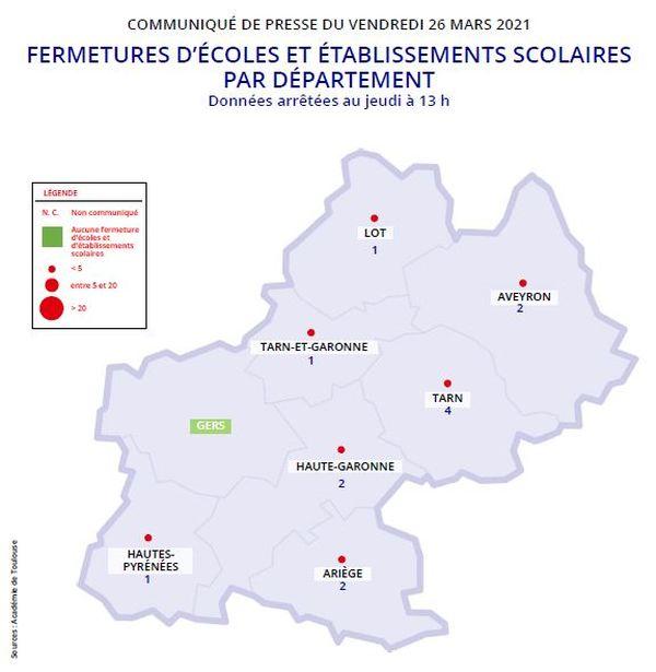 Treize établissements scolaires, onze écoles et deux collèges, sont fermés dans l'académie de Toulouse.